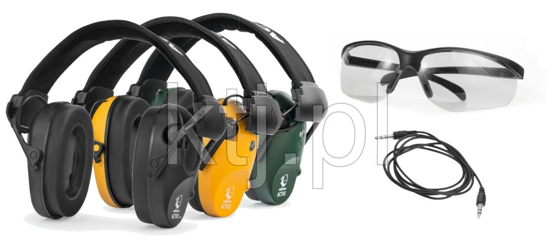 Słuchawki ochronne, aktywne RealHunterACTiVE PRO + okulary ochronne